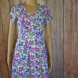 80s/90s Hearts Floral Button Up Fit Flare Dress